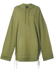 Fenty X Puma Hooded Oversized Sweatshirt Women Cotton Polyester Spandex Elastane M Green