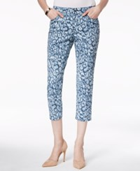 Charter Club Denim Capri Pants Animal Print Blue