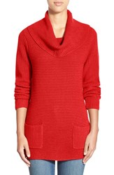 Women's Chaus 'Marilyn' Cowl Neck Two Pocket Sweater Holly Berry