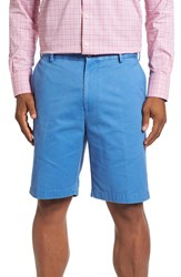 Peter Millar Men's 'Winston' Washed Twill Flat Front Shorts Dock Blue