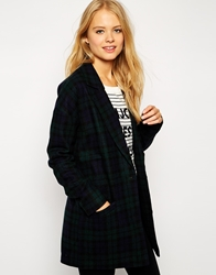 Noisy May Checked Relaxed Fit Coat Black