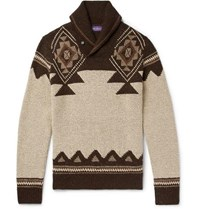Ralph Lauren Purple Label Slim Fit Shawl Collar Intarsia Silk And Cashmere Blend Sweater Brown