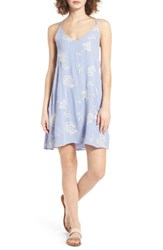 Lush Women's Embroidered Shift Dress Periwinkle Cream