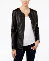 Alfani Petite Faux Leather Peplum Jacket Only At Macy's Deep Black