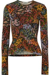 Preen By Thornton Bregazzi Norah Ruched Floral Print Stretch Crepe Top Brown