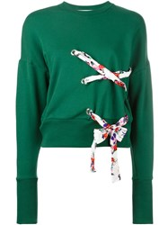 Msgm Lace Detail Sweatshirt Green