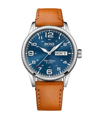 Hugo Boss Pilot Stainless Steel And Leather Strap Bracelet Watch 1513331 Brown