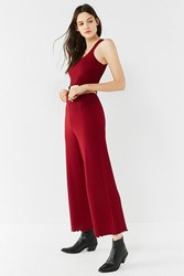 Urban Outfitters Uo Ribbed Knit Sweater Wide Leg Pant Maroon