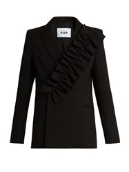 Msgm Ruffled Double Breasted Blazer Black