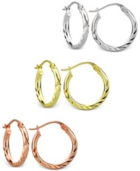 Giani Bernini Tri Tone 3 Pc. Set Textured Hoop Earrings In Sterling Silver Gold Plated And Rose Gold Plated Sterling Silver Only At Macy's Tri Tone
