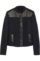 Karl Lagerfeld Nicole Leather Paneled Cotton Blend Boucle Jacket
