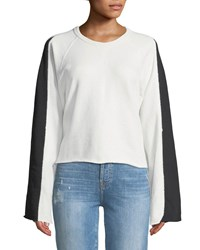7 For All Mankind Flare Sleeve Crop French Terry Sweatshirt White