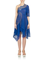 Stella Mccartney Embroidered Mesh And Lace One Shoulder Dress Coablt