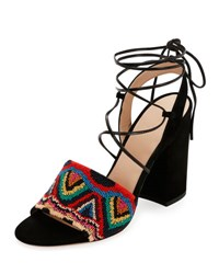 Valentino Native Beaded Lace Up Sandal Multicolor Nero
