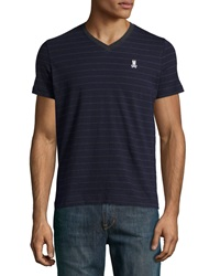 Psycho Bunny Striped V Neck Tee Navy Charcoal