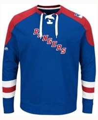Majestic Men's New York Rangers Centre Long Sleeve Jersey Shirt Royalblue Red