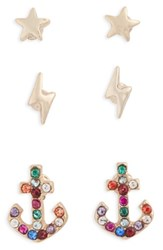 Topshop Women's Pack Of 3 Star Lightning And Anchor Stud Earrings Gold Multi