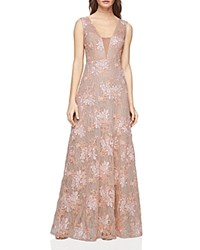 Bcbgmaxazria Illusion Inset Lace Gown Light Pink Combo