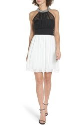 Speechless Women's Embellished Colorblock Skater Dress