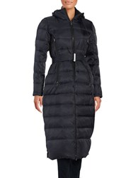 Vince Camuto Long Belted Puffer Coat Navy