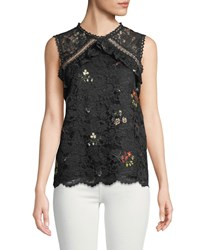 Laundry By Shelli Segal Sleeveless Embroidered Lace Blouse Black