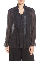 Tahari Women's Elie Everette Metallic Silk Blend Blouse