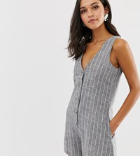 Native Youth Relaxed Playsuit In Chambray Stripe Grey