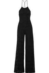 Miguelina Delphine Open Back Cotton Guipure Lace Jumpsuit Black