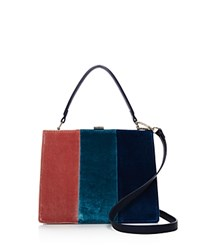 Street Level Three Stripe Velvet Satchel Blue Multi Silver