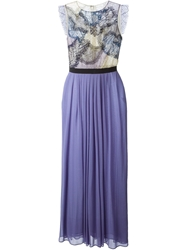 Amen Netted Detail Evening Dress Pink And Purple