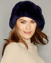 The Fur Vault Knitted Beaver Beret Dark Blue