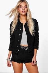 Boohoo Slim Fit Western Denim Jacket Black