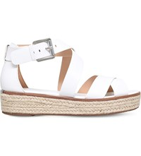 Michael Michael Kors Darby Leather Flatform Sandals White