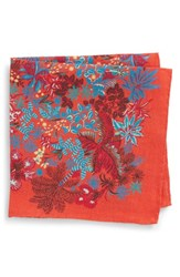 Bonobos Coral Reef Floral Linen Pocket Square Orange County