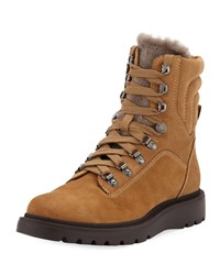 Aquatalia By Marvin K Christie Weatherproof Suede And Shearling Boots Sand