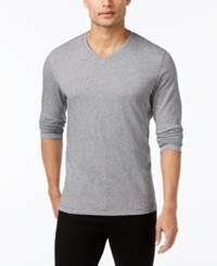 Alfani Men's Jacquard V Neck Long Sleeve T Shirt Only At Macy's Grey