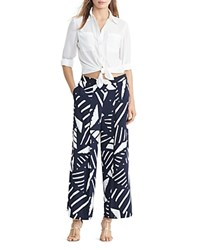 Ralph Lauren Graphic Print Wide Leg Pants Navy Ivory