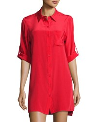 Milly Sand Washed Silk Shirtdress Red