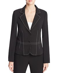Finity Notch Lapel Topstitched Blazer Black W White Stitch