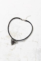 Urban Outfitters Garnet Leather Statement Necklace Silver