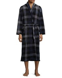 Majestic International Plaid Print Belted Long Robe Blue Gray