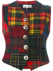 Dolce And Gabbana Vintage Tartan Waistcoat Red