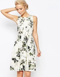 Closet Button Detail Skater Dress In Smudged Floral Cream