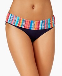 Anne Cole Triangle Striped Foldover Bikini Bottoms Women's Swimsuit Multi