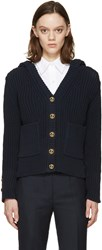 Thom Browne Navy Knit Hooded Cardigan