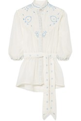 Talitha Beaded Embroidered Cotton And Silk Blend Top Ivory