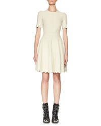 Alexander Mcqueen Jacquard Short Sleeve Fit And Flare Dress Ivory