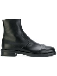 Neil Barrett Embossed Front Ankle Boots Calf Leather Leather Rubber Black