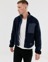 Original Penguin Borg Full Zip Icon Logo Jacket In Navy