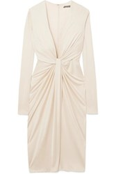 Tom Ford Twist Front Satin Jersey Dress Off White